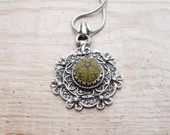 Sea Urchin Green Organic Flower Necklace One of a kind