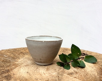 Small Ceramic Cup - White Yunomi - Tumbler - Tea Cup, Coffee Cup or Wine Cup without handle - Handmade Stoneware Ceramics
