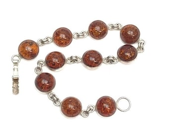 Amber and Sterling Silver Round Link Bracelet
