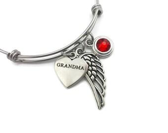 Memorial Bracelet for Loss of Grandma, Memorial Jewelry, Remembrance Bracelet, In Loving Memory Bereavement Gift, Angel Wing and Birthstone