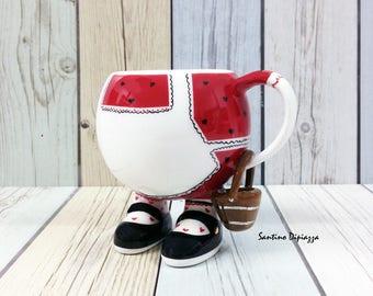Tazza di caffè di Jill, la filastrocca raccolta, ceramiche a piedi, collezionisti Display tazze, unica novità Ware, raffinati regali di porcellana, ceramica