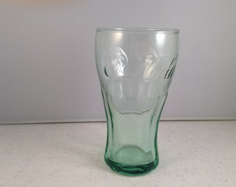 Vintage Coca Cola Glass Small Light Green 5 Ounce Glass 4.5 Inches Tall 2 and 3/8 Inches Wide at the Top Previously 10 Dollars ON SALE