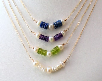 Pearl and Gem Bar Necklace in Peridot Amethyst or Lapis Lazuli, Freshwater Pearls & Gold Necklace, Delicate Minimal Organic, Stacked Stones
