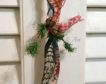 Snowman Ornament | Vintage Butter Knife | Hand Painted | Folk Art \ Primitive