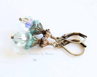 Blue Brass Earrings Turquoise Blue Czech Glass Bell Flowers Swarovski Crystals Victorian Earrings Flower Earrings Gift For Her