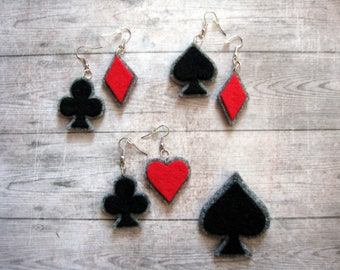 Full-hand! Lucky cards earrings! hearts spades clubs diamonds casino