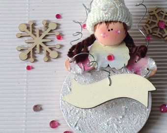 Personalize Christmas Ornament. Personalized Gift. Winter Girl Holiday Decoration. Baby's 1st Christmas. Gift for Her.