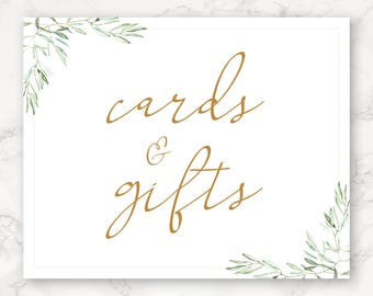 Printable Cards and Gifts Sign - Wedding Decor - Greenery - Botanicals - Watercolor