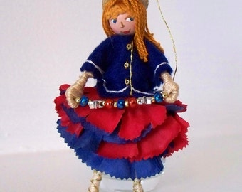Art Doll July 4th Hanging Ornament Patriotic Colors Flower Girl, felt ornament by WhisperingOak