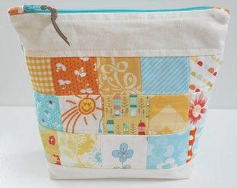 Linen Patchwork Zip Top Bag/Cosmetic Bag/Travel Bag/Linen Zipper Bag/Makeup Bag/Patchwork Bag