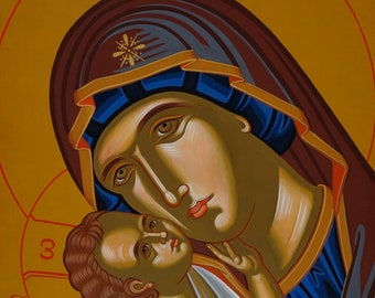 """Glykophilousa """"Sweet Kissing"""" hand-crafted & hand-painted Orthodox Holy Icon on wood"""