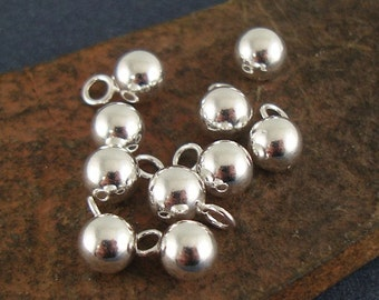 Silver Ball Charm, 5mm Sterling Silver Ball Drop Charm, Silver Dangle, Hollow Ball, Lightweight Charm, 1.77mm Closed Ring - 10 Pieces