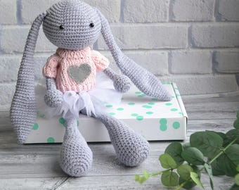 Gray baby bunny in pink sweater and white skirt, crochet personalized bunny toy, crochet bunny doll baby shower gift, stuffed bunny rabbit