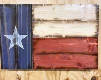 "14""x21"" Handmade Rustic Wooden Texas Flag"
