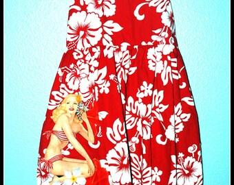 Girls Rockabilly Tiki Dress with Pinup Girl........Size 7-8