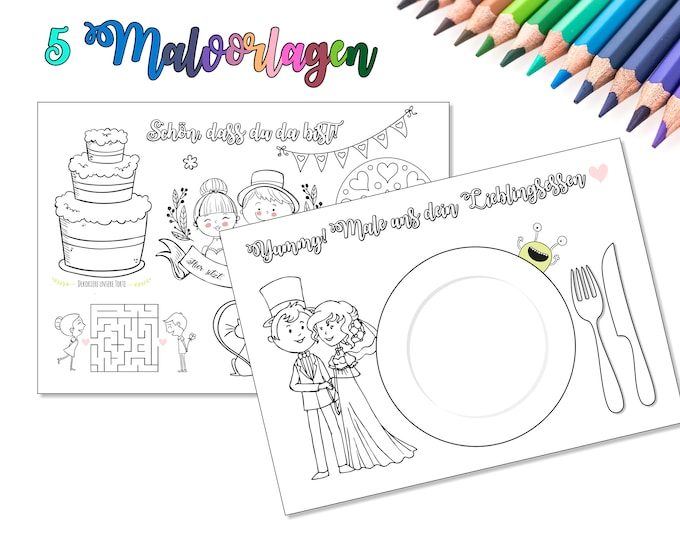 5 Wedding Coloring pages-double sided