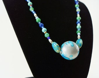Blue and Silver Ice Necklace