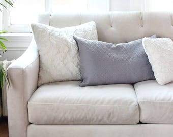 Quilted Cushion Covers | Throw Pillow Cover | Decorative Cushion | Pillow Case Sham | Grey Wool Cushions [Emma]