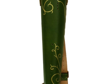 Forest Elven quiver / fantasy quiver leather / cost play quiver / elf leather quiver