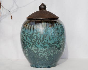 Ceramic urn for ashes, crystalline pottery urn, 10 % off urn for human ashes, pet urn, keepsake urn, burial urn, funeral urn, dog urn.