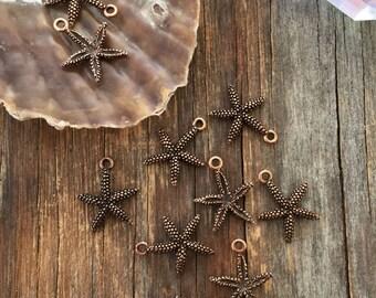 Antique Copper Small Starfish Charms, 16x20mm, 2pcs / Nunn Designs, Starfish Pendants, Nautical, Beach Charms, Star Fish, Jewelry Supplies