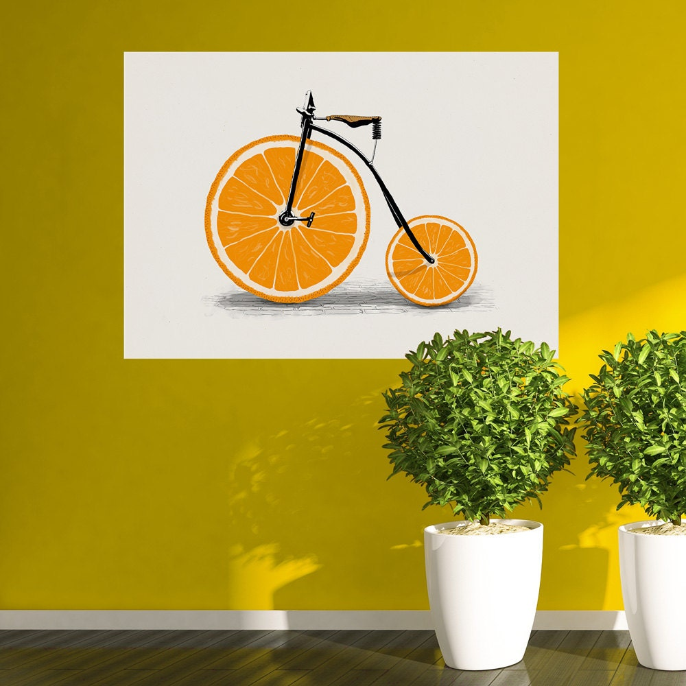 Orange Slice Bicycle Wall Sticker Decal Vitamin by Florent