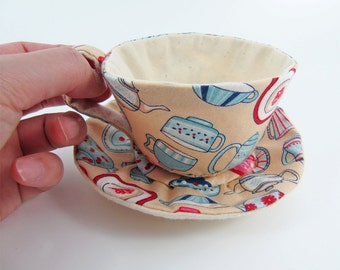 MADE-TO-ORDER ( 1 - 2 Weeks)- Textile Teacup Tidy-Teacup Print Dark Cream