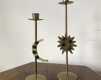 Vintage SUN and MOON Brass Candle Holder's/Candlestick Holder/Red and Green Gem stone
