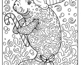 Christmas coloring pages Fox coloring page for adults Fox