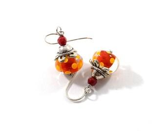 Red and Orange Lampwork Earrings, Silver Earrings, Dotted Earrings, Lampwork Earrings, Antique Silver Earrings, Boho Earrings, AE023