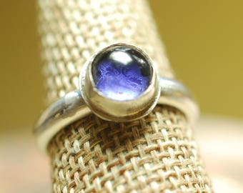 Ring 17-9, Amethyst ring, Size 9 US, Sterling Silver ring, Artisan ring