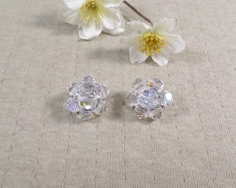 Vintage Silver Tone Faceted Crystal Bead Cluster Clip On Earrings DL# 4590