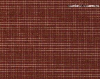 Dunroven House H-311 Homespun Country Red Sm Thin Plaid Fabric 1/2 Yd Cut