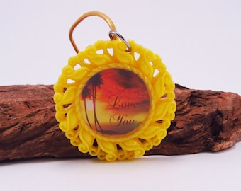 "Bright Yellow Necklace Pendant,  Sunset ""I Love You"" Pendant, Resin Photo Pendant, Photo Necklace, Bright Yellow Frame"