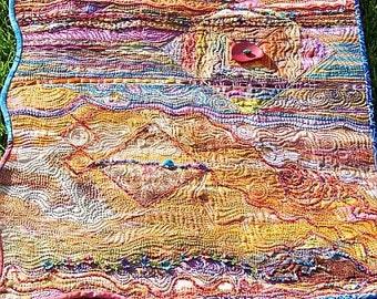 MarveLes MONTANA LEGACY Original Art Quilt in Gold Rust Blue Green Multi