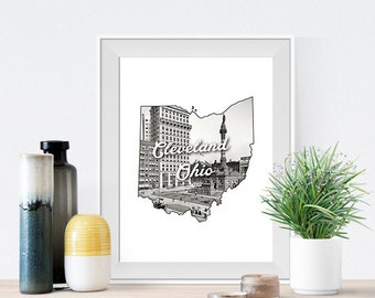 Cleveland Public Square Ohio State Art Print Poster of old 1900 Image