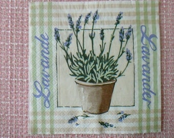 Decopatch / decoupage / Scrapbooking - napkin with Lavender flowers