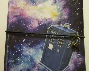 Space TARDIS travelers notebook midori fauxbonichi hobonichi planner upcycled passport journal Doctor Who fandom galaxy cosmos stars