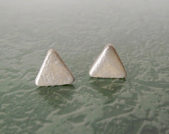 Leather Triangle Stud Earrings Opal White Minimalist Jewelry Recycled