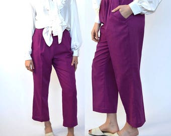 annie holiday -- vintage 80s high waisted straight leg pants S
