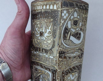 Vintage 1960s ROYAL COPENHAGEN Aluminia Faience Tall Vase. 9 inches. Abstract Baca by Nils Thorsson