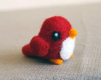Needle Felted Red Bird Soft Sculpture Figure - Made to Order - Woodland Decor Felted Bird - Bird Art Doll - Felt Bird Art Figurine