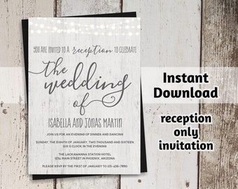 Printable Reception Only Invitation Template - Rustic Fairy Light, Wood, Calligraphy Wedding Reception Invitation - Digital Instant Download