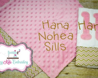 Burp Cloth, Baby Blanket, Pink Gold Chevron Burp Cloth, Pink Gold Chevron Baby Blanket, Custom Embroidery, Applique