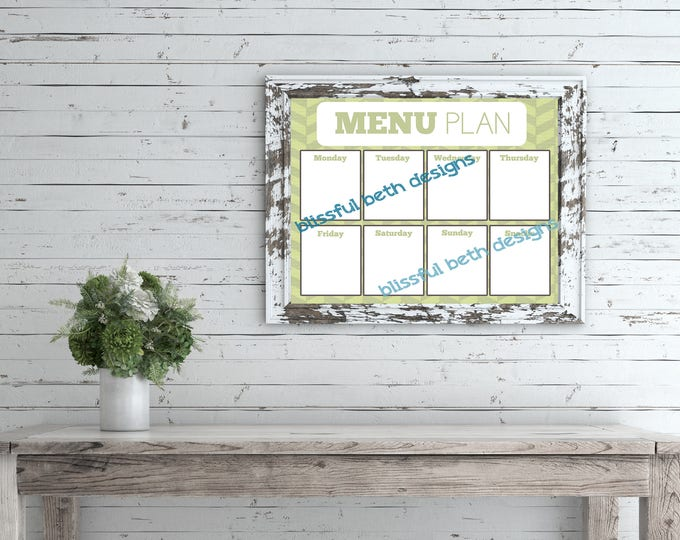 WEEKLY MENU PLANNER Weekly Menu Planner, Printable Menu Planner, Instant Download Planner, Weekly Menu, Printable Menu Plan, Menu Planning