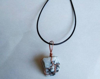 Moonstone necklace, raw moonstone, copper color wire, black necklace cord.