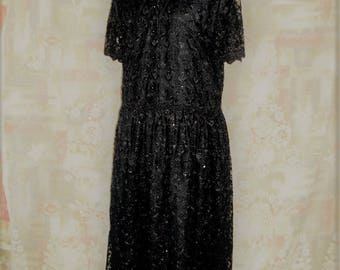 Black beaded embroidery lace Dress