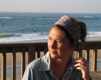 FLORAL SPA Blue  head scarf, hair covering,tichel,head wrap,women wide headband,hair wrap,hair scarves