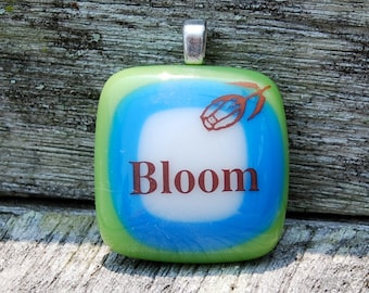 SALE Blooming Flower Fused Glass Pendant - Inspirational - Flower Jewelry
