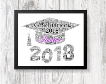 PERSONALISED Graduation Class 2018 Celebration Word Art Print Keep Sake Gift College or University School Present